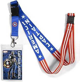 حبل قصير قابل للعكس من اتا بوي مارفيل كوميكس كابتن أمريكا بمشبك منفصل وحامل لبطاقة الهوية.