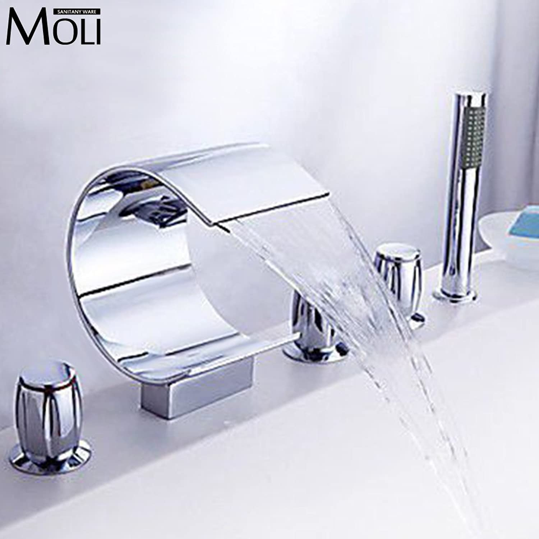 Galvanik Retro Wasserhahn 5 Stück Badewanne Armatur verbreitete Messing Waterfall Tub wasser Mixer mit Handbrause, Schwarz