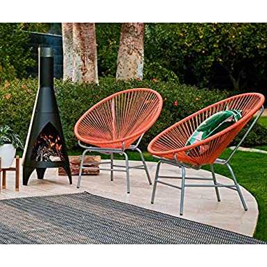 Set of 2 Summer Orange Acapulco Chairs Outdoor Patio Lounge Chairs Mid Century Modern