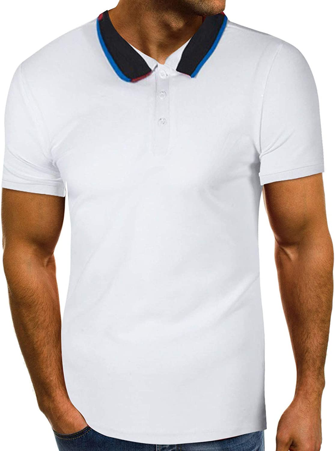 DZQUY Men's Casual Slim Fit Polo Shirt with Pockets 1/4 Zip Short Sleeve Classic Hipster Hip Hop Workout Muscle Tops T-Shirts