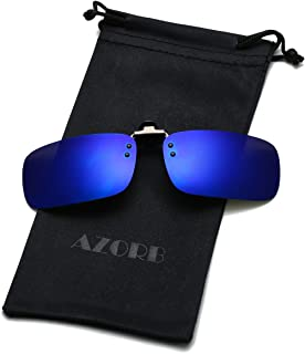 AZORB Clip-on Flip Up Sunglasses Polarized Anti-Glare Driving Glasses for Prescription Eyewear