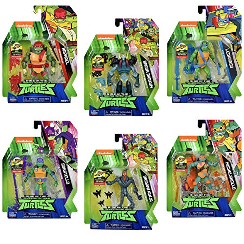 SPAR-SET 178643 - Teenage Mutant Ninja Turtles - Spielfiguren-Set, Raphael, Leonardo, Donatello, Michelangelo und 2 Bösewichte - ca. 11cm