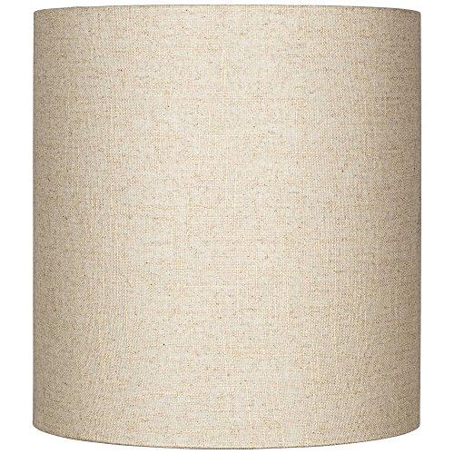Oatmeal Tall Linen Medium Drum Lamp Shade 14
