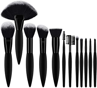 BTYMS Professional Makeup Brush Set 12pcs Premium Synthetic Hair Cosmetic Beauty Brushes Face Makeup Brushes for Liquid Foundation Powder Concealer Blush Eyebrows Lips Eyeshadow Makeup Brushes Tool