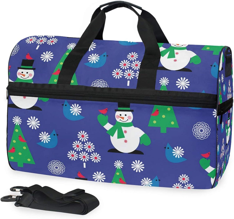 FANTAZIO Christmas Snowman Flower Bird bluee Sports Duffle Bag Gym Bag Travel Duffel with Adjustable Strap