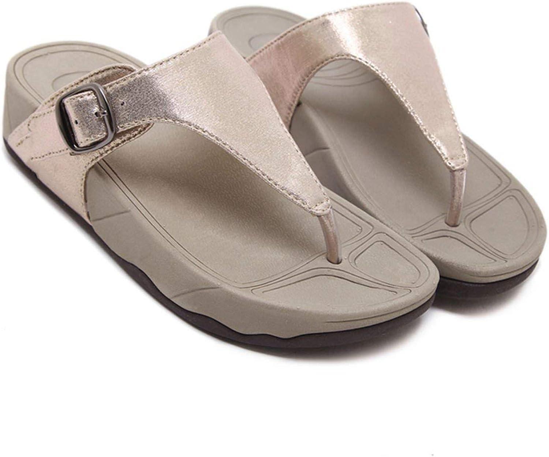 Threeflower Summer Women Slippers Slip-On Casual Buckle Slope Female Sandals Beach Flip Flops Lady Women shoes