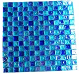 12x12 Blue and Sea Blue Mosaic Glass Kitchen Bathroom Floor Tile Backsplash Patio