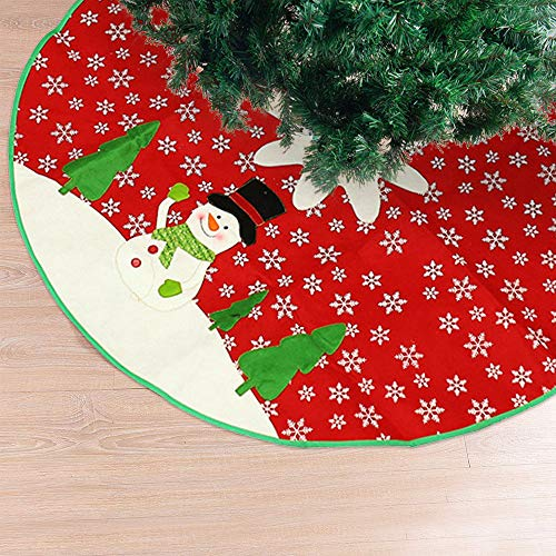 Red Tree Skirt Large Xmas Tree Skirt with White Snowman and Snowflake Design Round Indoor Outdoor Mat for Party Holiday Decorations(40 Inches)