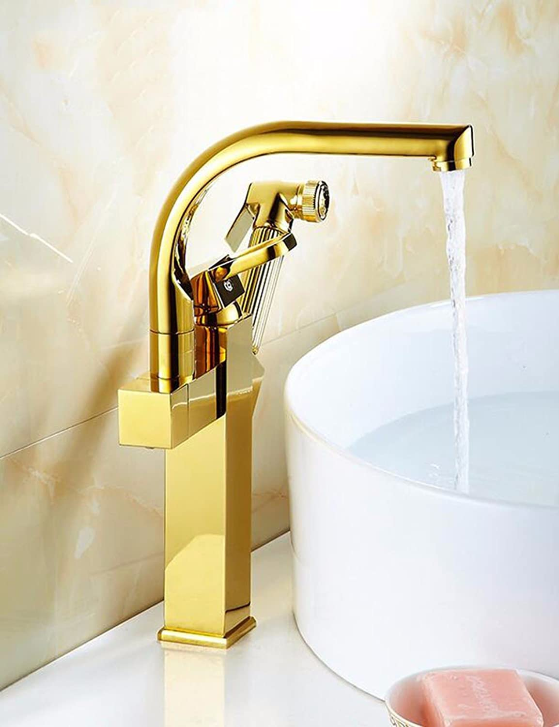 Qmpzg-gold-Plated Pull Cu All Basin Mixer?Hot And Cold Scalable Stretch Tap?Basin Faucet?Bench Basin Faucet?C