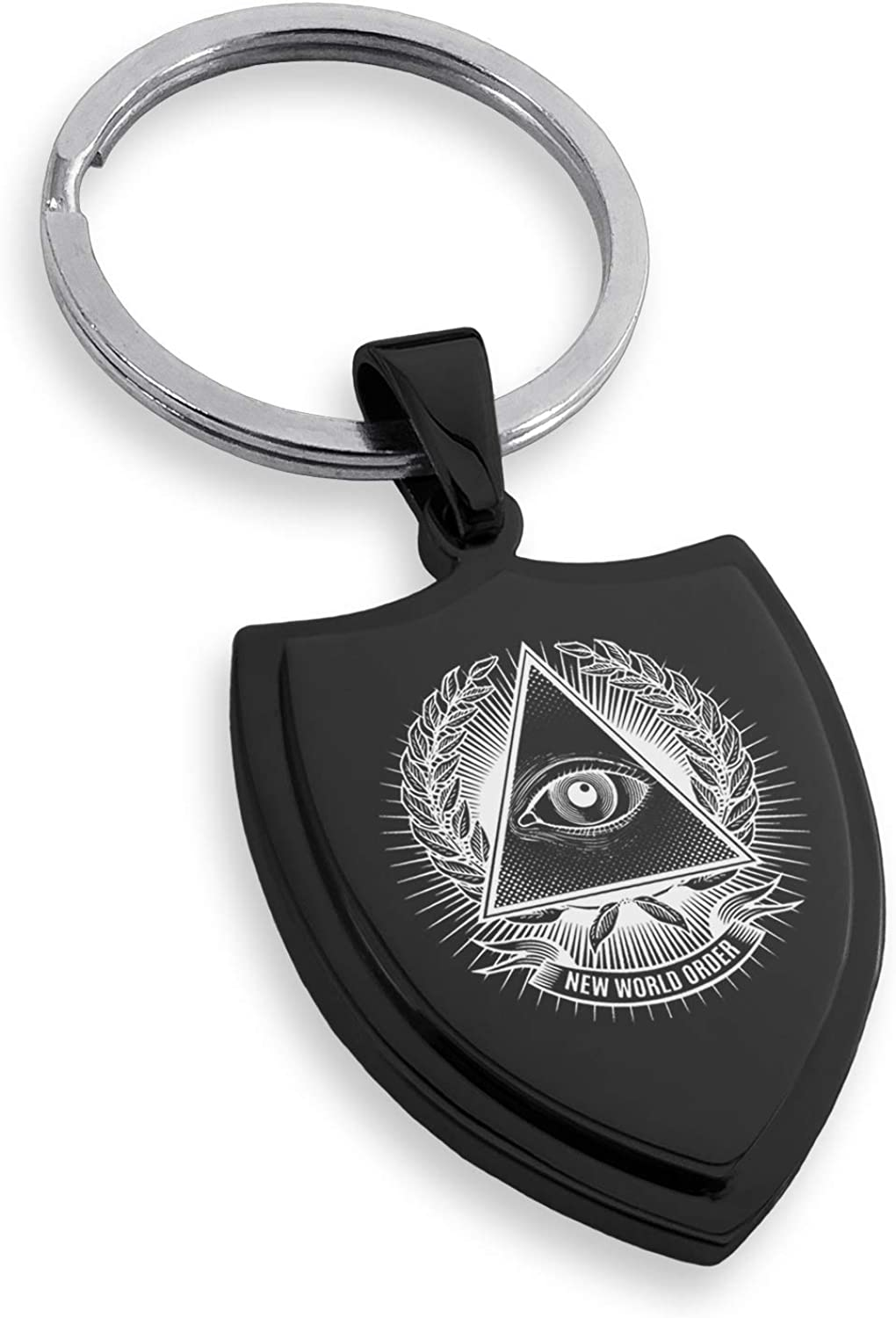 Tioneer Stainless Steel All Seeing Eye New World Order Shield Keychain Keyring