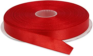 Topenca Supplies 1/2 Inches x 50 Yards Double Face Solid Satin Ribbon Roll, Red