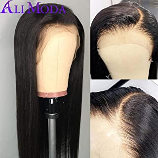 Ali Moda Brazilian 10A Silky Straight Lace Frontal Wigs 130% Density Pre-Plucked Human Virgin Hair Nature Hairline With Baby Hair 16 inch