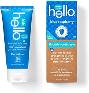Hello Oral Care Kids Fluoride Toothpaste, Blue Raspberry, 4.2 Ounce (Pack Of 2)