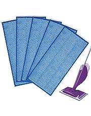 KEEPOW Ersättande mikrofibermoppdynor för Swiffer våt- och torrmoppstartare, tvättbar och återanvändbar påfyllning, 5-pack, blå