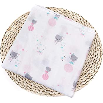 Amazon Com Newborn Baby Muslin Swaddle Blanket Soft Cotton Bath Towel Bedding Blanket Infant Swaddling Wrap For Boys Girls Color Pink Cat Size One Size Baby