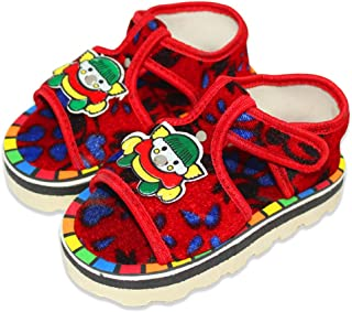 Born Babies® Booties/Shoes with Anti-Slip Sole Suitable for Both boy and Girl in Design (Red)