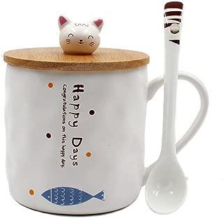 Japanese Cat Ceramics Coffee Mug Teacup with Lid and Spoon
