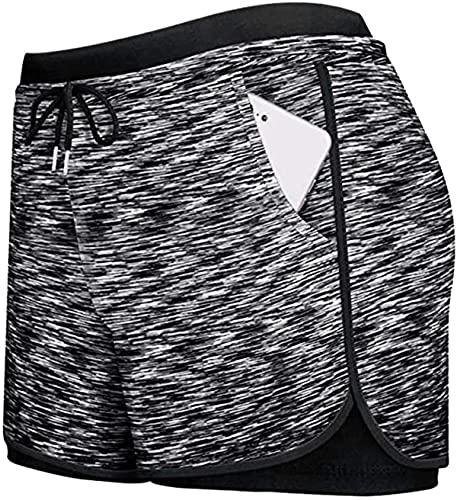 Pantalones cortos de correr para mujer, pantalones cortos 2 en 1 de doble capa activos, yoga, gimnasio y deportes con bolsillos