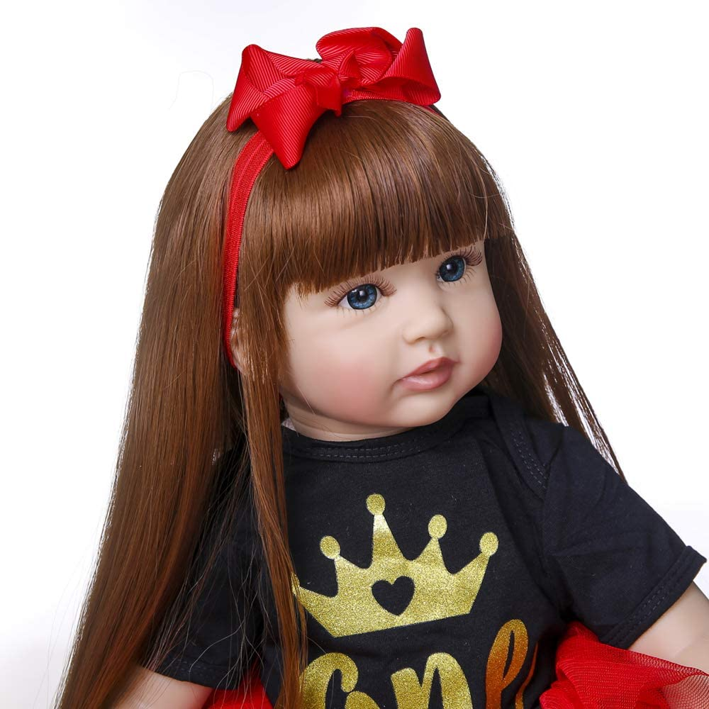 3 Reborn Toddlers Dolls Girl 24 inch 60cm Realistic Lifelike Toddler Reborn Baby Doll Soft Silicone Doll Toy Eyes Open with Long Hair for Birthday Girls Kids Gifts