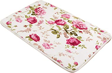 Simple Style Area Rugs Non Skid Washable Rug Bath Door Entry Rugs White (Rose)