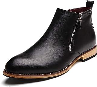 JIANFEI LIANG Men's Ankle Boots Casual Classic Side Zipper High Top Simple Leisure Shoes (Color : Gray, Size : 44 EU)