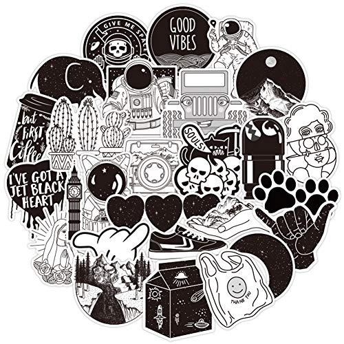 50 Pack Cute Aesthetic Stickers for Water Bottle, Black Sticker Packs for Adults Waterproof Vsco Sticketrs Perfect for Water Bottle Laptop Guitar Phone Skateboard Travel Extra Durable (Black & White)