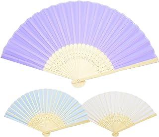 Zuzer Abanico Plegable, 12PCS Abanico de Bambú Blanco Azul Morado Ventiladores de Mano Fan de Organza Utilizado para Decoración de La Boda Decoración de DIY