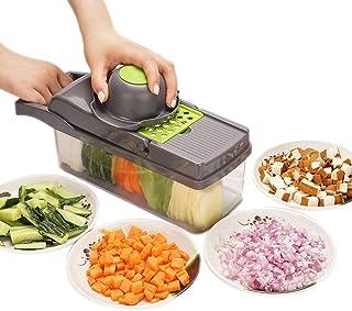 azorex Cortador de Verdura Fruta Mandolina Azul con 5 Cuchillas 1 Raspador y 1 Protector de Mano para Cocina con Material ABS Paja Trigo y Acero Inoxidable 8 en 1