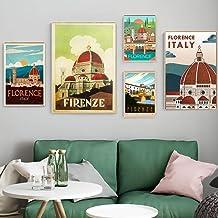 5 Unids Italia Toscana Florencia Ciudad Viajes Lienzos Cuadros Vintage Imagen Carteles Kraft Revestidos Pegatinas de Pared Decoración del Hogar Regalo Sin Marco