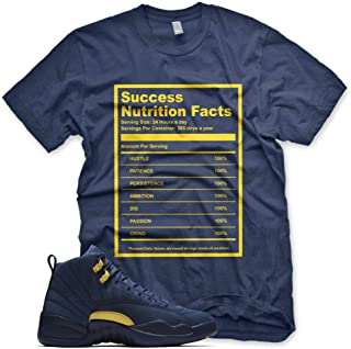New Navy Success Nutrition Facts T Shirt for Jordan Retro 12 XIII Michigan PE M