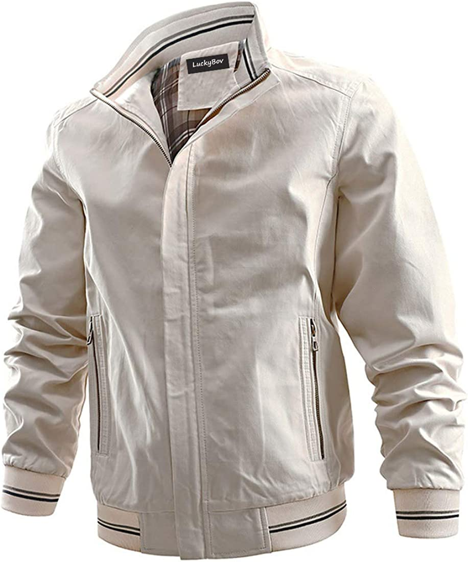 LuckyBov Men Canvas Breathable Lightweight Jacket Spring Fall Casual Work Wear Coat