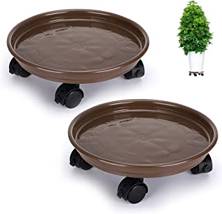 Skelang Pack of 2 Plant Pallet Caddy Plant Stand Plant Pot with Lock Wheels Round Flower Pot,Planter Trolley Casters Rolling Tray Coaster, Moving Plant Pot Saucer