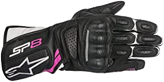 Alpinestars Women's Stella SP-8 v2 Leather Gloves (Large) (Black/White/Pink)