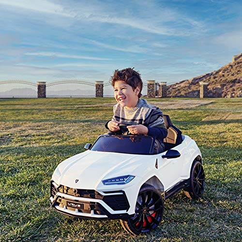 Kidzone 12V 7AH Licensed Lamborghini Urus Kids Ride On Car Electric Vehicle High/Low Speed with 2.4G Remote Control, Horn, Radio, USB Port, Spring Suspension, Opening Door, LED Light, Green