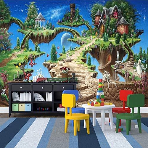 Fotobehang 3D Stereo Cartoon Sprookje Kasteel Mural Kid's Slaapkamer Woonkamer Amusement Park Achtergrond Muur Schilderen Fresco (H)250*(W)175cm A