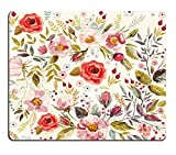 Mouse Pad Unique Custom Printed Mousepad Vintage Hand Drawn Floral Non-Slip Rubber 9.5x7.9-Inch