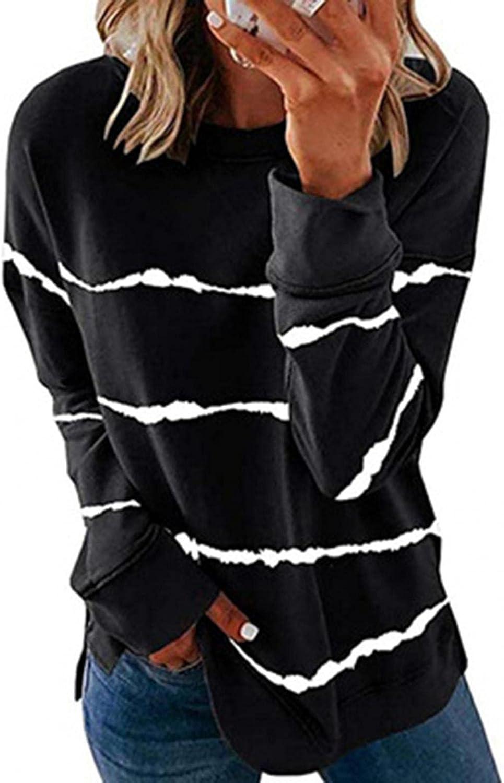 Women Long Sleeve Crewneck Sweatshirt Side Split Pullover Tops Striped Print Color Block Hoodies Loose Pullover Tops