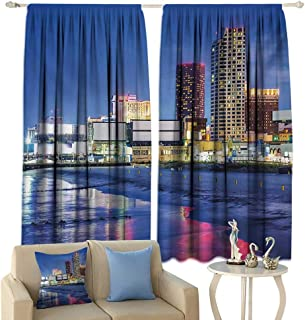 Tidefree Light Luxury high-end Curtains City Resort Casinos on Shore at Night Atlantic City New Jersey United States Darkening and Thermal Insulating Violet Blue Pink Yellow