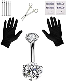 Jconly Belly Piercing Kit - 14G Belly Button Ring with 316L Steel Piercing Needles and Piercing Clamp…