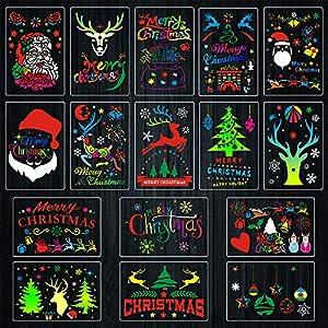 16 plantillas de Navidad, plantillas de plástico reutilizables para manualidades, plantillas dibujo pintura bricolaje para ventanas madera puertas vidrio álbumes recortes decoraciones navideñas