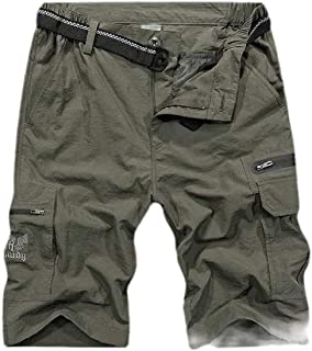 Frieed Mens Casual Pants Multi Pockets Quick Dry Cargo Short Sport Short