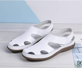 Women's Summer Flat Sandals Wedge Sandal Loose Shoes Breathable Hollow Out Walking Shoes Flat Sand Beach Roman Sandals,Whi...