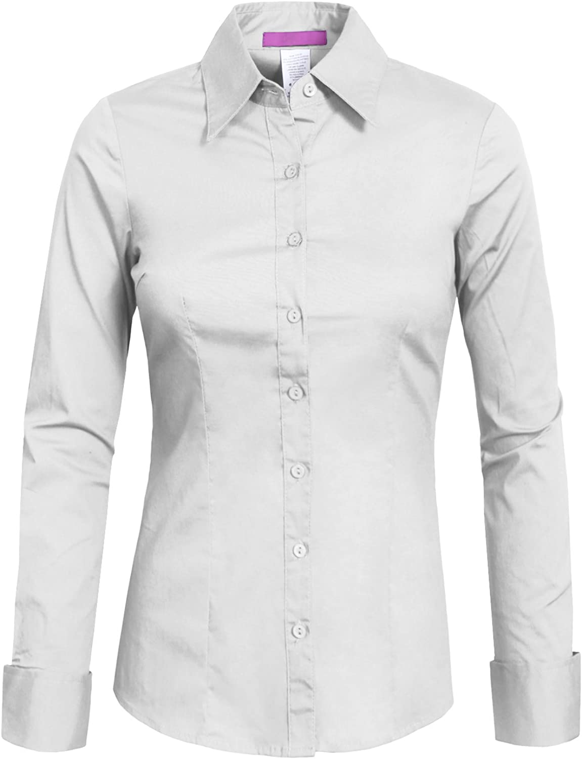 NE PEOPLE Womens Basic Solid Work Office Tailored Long Sleeve Button Down Daily Shirt (S-3XL)