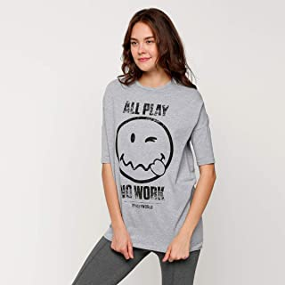 Smiley World T-Shirts For Women, Grey 14 UK