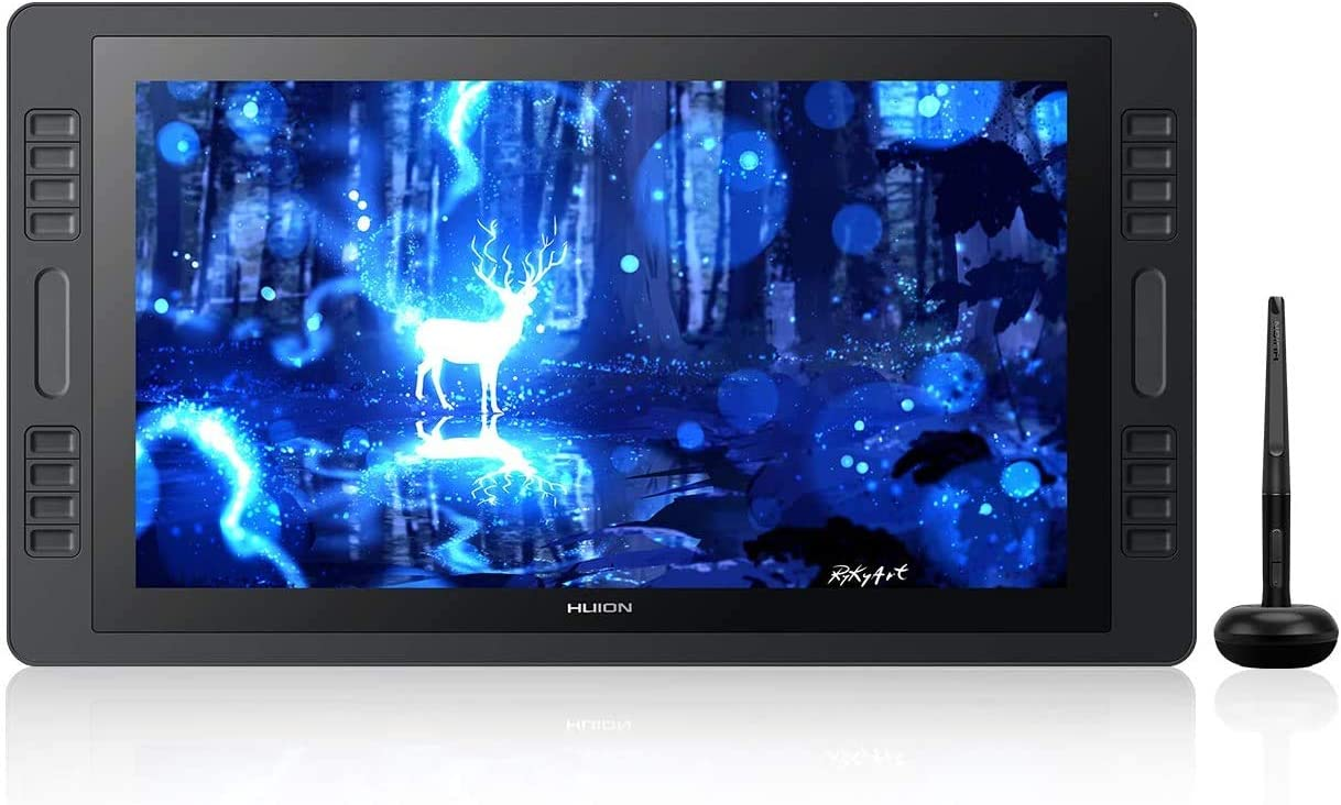HUION KAMVAS Pro 20 Graphics Drawing Monitor Tablet with Full Laminated Screen 19.5inch Pen Display with Battery-Free Stylus Tilt 16 Express Keys 2 Touch Bars- Stand Included