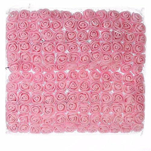 Rose flowers Fake flowers bulk roses Artificial flowers fake roses DIY 144 PCS Flowers Head Roses Artificial Roses Wedding Bride Bouquet Foam DIY Party Festival Home Decor Garland Wreaths (Light Pink)