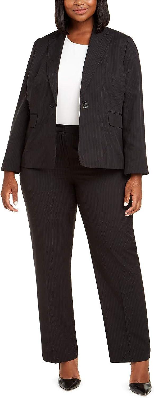 Le Suit Plus Size Pinstriped Single-Button Suit, Black/Grey 20W