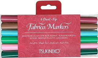 Tsukineko Dual-Ended Fabrico Marker Color-Fast, Arboretum, 6-Piece Set
