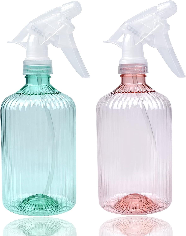 2 Piezas Botella de Spray, Botella de Spray Vacías de Plástico, Botella Spray Pulverizador de Transparente, Pulverizador Agua de Gatillo, para Plantas, Pelo, Jardinería y Cocina