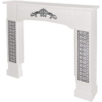 Wohnando Dekorative Kaminumrandung in Weiß mit Ornamenten